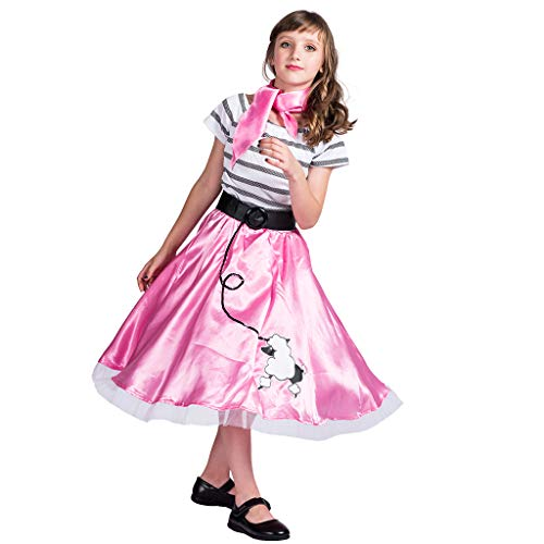 EraSpooky 50er Jahre Pudel Rock Retro Kostüm Faschingskostüme Cosplay Halloween Party Karneval Fastnacht Kleid (Rosa Pudel Rock Kostüm)