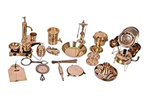 Desi Toys Vintage Miniature Brass Metal Cooking Set, Gold (42 Pieces)