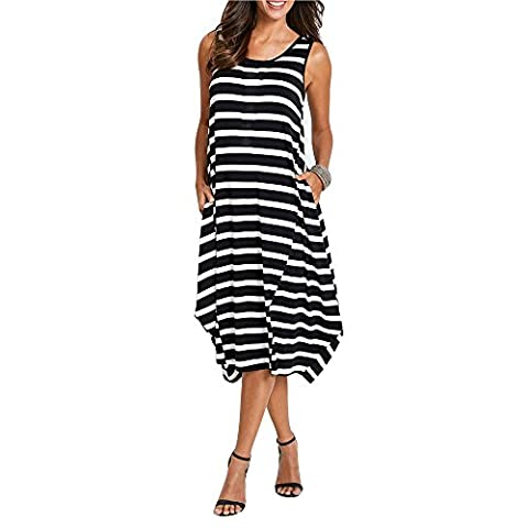 SUNNOW Women's Black Striped Casual Sleeveless Tank Top Midi Maxi