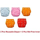 LUKZER (Pack Of 2 With 2 Liners) New Adjustable (for All Sizes) Reusable Lot Baby Washable Cloth Diaper Nappies For Babies Of Ages 0 To 2 Years,Color May Vary.