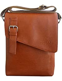 JaisBoy Unisex PU Leather Brown Messenger Bag