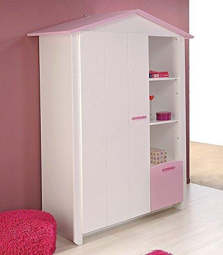 Kleiderschrank weiß rosa, 112x181x60cm, Kinderzimmerschrank Schlafzimmerschrank Mädchen Beauty 9