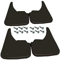 4 guardabarros universales para parte delantera y trasera de color negro con tornillos de montaje, de goma de fácil ajuste