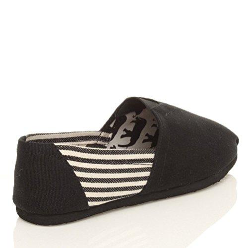 Herren Flache Espadrilles Slippers Freizet Strand Leicht Stoffschuhe Größe Schwarze Streifen