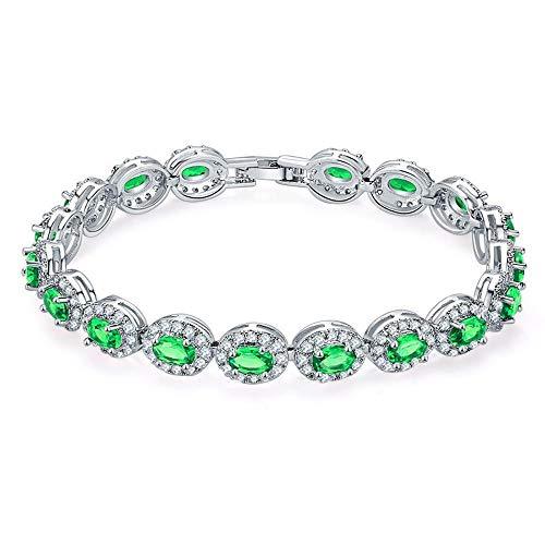 df3291f20fd2 JunBo Pulsera de circón Oval de Diamantes Pulsera de Oro Blanco Chapado en  Cobre Verde