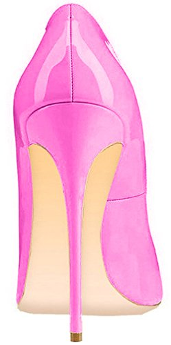 ELEHOT Femme 12cm Taille EU 34-46 Toyque Aiguille 12CM Synthétique Escarpins Rose