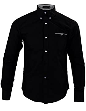 SODIAL (R) Moda para hombre de lujo de manga larga casual delgado estilo camisa de vestido Negro - M