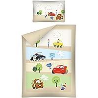 Biancheria da letto per bambini Cars marrone 100x 135cm + 40x 60cm copripiumino 100% cotone, Baby letto con biancheria da letto 2pezzi set