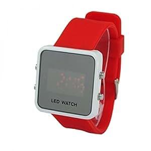 Montre Rouge à LED Rouges - Bracelet Caoutchouc Réglable - Ecran Mirroir Fashion - LED Watch