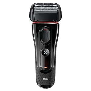 Braun Series 5 5030s Rasoio Elettrico Barba, Ricaricabile, a Lamina, senza Fili, da Uomo, con Rifinitore di Precisione Estraibile, Nero/Rosso