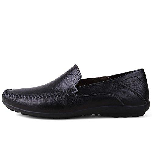 ailishabroy Mens Brown & Black Leather Shoes Men Business Formal Oxford (46 EU, Black)