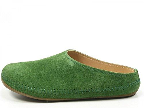 Haflinger 488023-0 Everest Softino Damen Hausschuhe Pantoffeln Leder Beige Grün Grün