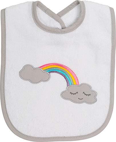 Smithy Lätzchen aus 100% Baumwolle mit Regenbogen, Druckknopfverschluss, Farbe weiß, Maße 24 x 24