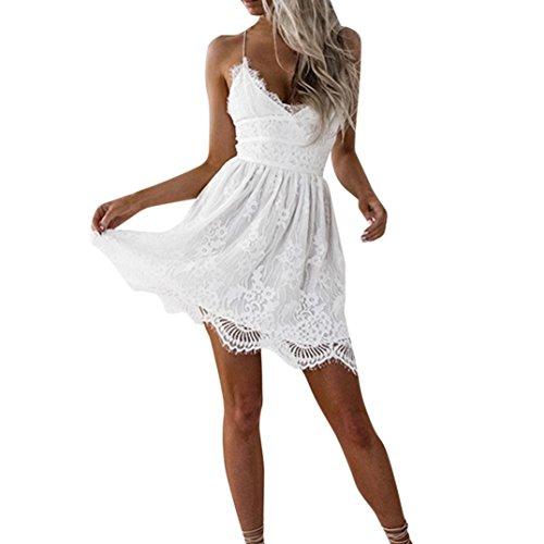 Kleid Damen Kolylong® Frauen Elegant Spitze Ärmelloses Kleid Knielang Vintage Neckholder Spitzenkleid Slim Bleistift Kleid Ballkleid Etuikleid Strandkleid Cocktail Party Kleid Abendkleid (White-B, M) - Cocktail-party-kleid