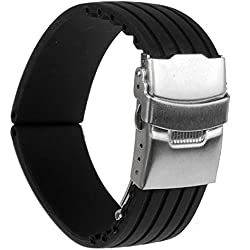 Tinksky 22mm Waterproof Watch Band Strap with Stainless Steel Deployment Clasp Buckle