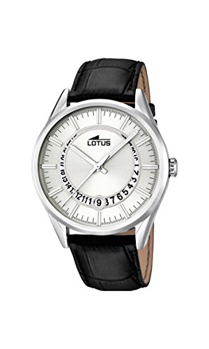 Lotus Men's Quartz Watch with White Dial Analogue Display and Black Leather Strap 15978/1