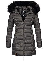 Marikoo Damen Winter Jacke Winterjacke Stepp Mantel lang gesteppt Übergang  B647 29a09ea1b1
