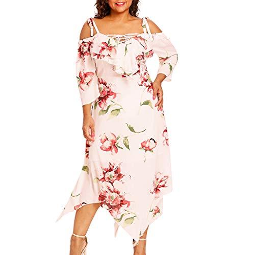 VJGOAL Damen Kleid, Frauen Plus Size Mode V-Ausschnitt Floral Maxi Abend Cocktail Party Hochzeit Boho Strand Frühling Sommerkleid (3XL / 48, S-Drucken-Beige) (Size Dress Womens Long Plus Black)