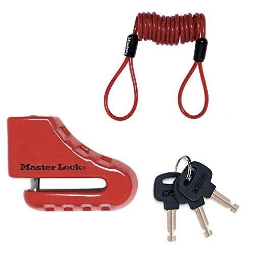 Master Lock Bloccadisco per Moto o Bloccadisco per Scooter, 80 mm con Serratura a Chiave e Perno con Diametro 5.5