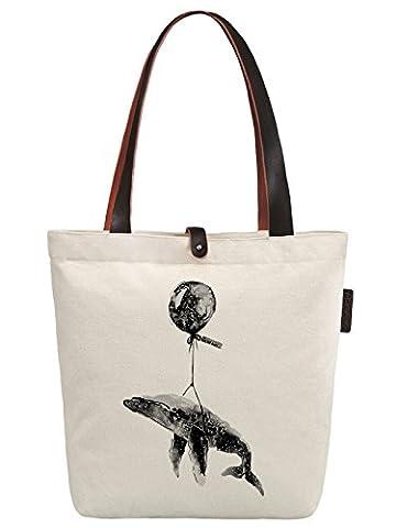So'each Women's Cute Whale Graphic Canvas Handbag Tote Shoulder Bag