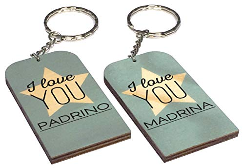 Gravure Events Lote: 1 Llavero I Love You Padrino + 1 Madrina - Un Ori