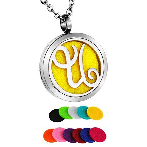 HooAMI Parfüm Halskette Buchstaben A-Z Anhänger für Aromatherapie ätherisches öl mit 11 Pads 60cm Kette