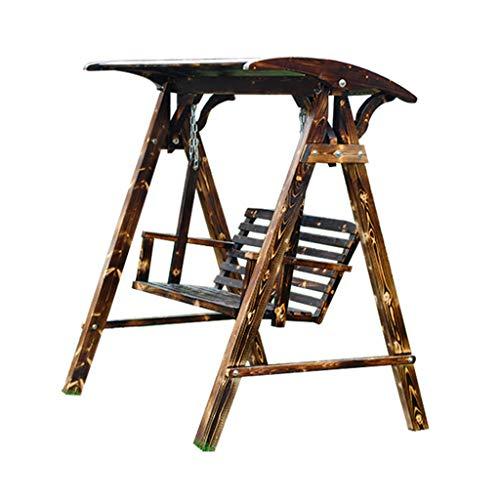Schaukel Sitz schaukel Garten schaukel Holz doppelschaukel Casual Outdoor schaukel kinderstuhl (Color : Brown, Size : 120 * 140 * 160cm)