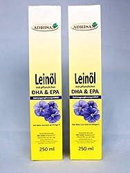 frisches Leinöl mit DHA+EPA 2er Pack 2x250ml mit Dosierer | natives Speiseöl aus 1. Kaltpressung
