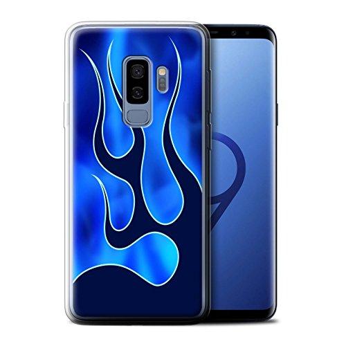 Stuff4® Gel TPU Hülle/Case für Samsung Galaxy S9 Plus/G965 / Blau/Marine Muster/Flamme Lackierung Kollektion Smoke Tpu Gel