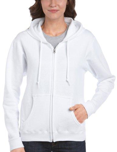 Gildan Damen Ladies 50/50 Cotton/Poly. Full Zip Hooded Sweat Sweatshirt, Weiß (White), 40 (Herstellergröße: M) - Basic Zip Hooded Sweatshirt