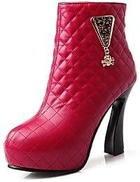 Mujer Zapatos Semicuero Primavera Otoño Invierno Tacón Stiletto Mitad de Gemelo Pajarita Cremallera Para Vestido Almendra Negro Blanco