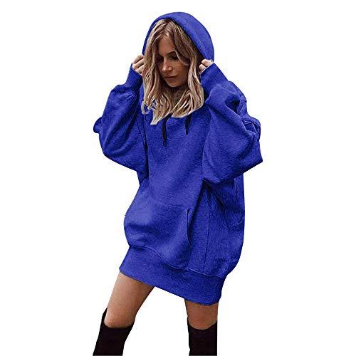 (SuperSU Frauen Mode Einfarbig Kleidung Hoodies Mantel Hoody Damen Langarm Hoodie Stretch Sweatshirt Midi Kleider mit Taschen Mode Pullover Winterkleider Kleid Hip Hop Strickkleider (M, Blau))