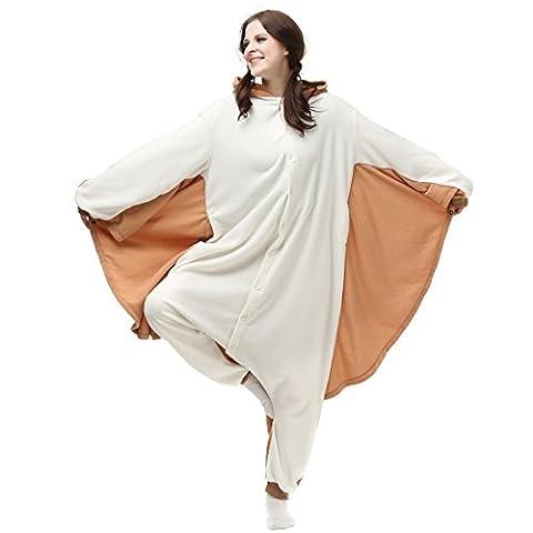 Casa Erwachsene Kigurumi - Unisex Jumpsuit Tier Onesie Tieroutfit Schlafanzug Sleepsuit mit Kapuze Cartoon Fasching Overall Pyjama Cosplay Fliegende Maus