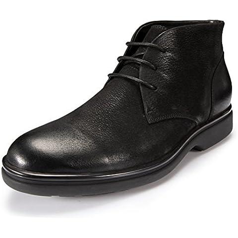 In vera pelle nera Hi pelle scarpe per l'autunno/inverno/Scarpe uomo/