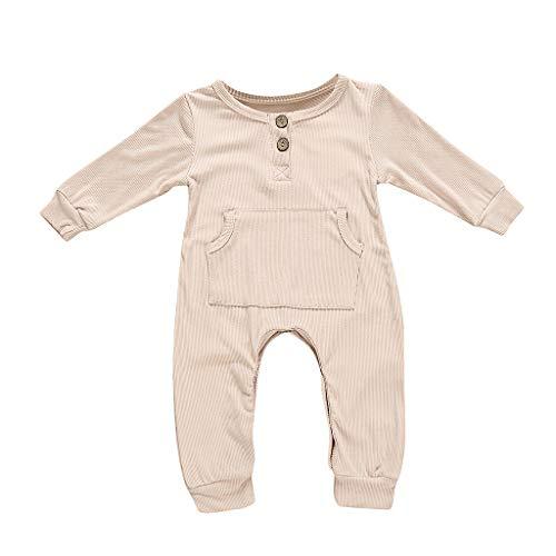 Weant Baby Strampler Mädchen 0-6 Monate Winter Langarm Overalls mit Tasten Einfarbig Fleece Hoodie Bodysuit Jungen Footed Jumpsuit Unisex Set Säugling Spielanzug Baby-Nachtwäsche -