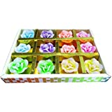 Designer Panda, Floating In Water Flower Shaped Multi Colored Diyas/Candles For Home Decor Set Of 12