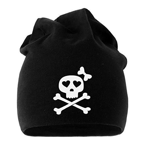 MoonWorks Coole Beanie aus Weichem Jersey mit Totenkopf Knochen Bones Skull Girl Pirat, Bedruckte Mütze für Herren und Damen, Schwarz Unisize