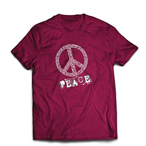 Männer T-Shirt Willst Du Stück von Mir - Frieden Slogan, 60er 70er Hippie - Hippie Festivals, Hipster Swag (Large Burgund Mehrfarben) (Kostüme Witze)