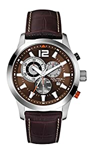 Nautica A15548G - Reloj analógico de cuarzo para hombre, correa de cuero color marrón de Nautica