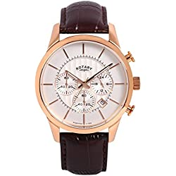 Rotary Men's Quartz Watch with White Dial Chronograph Display and Brown Leather Strap GS00313/01