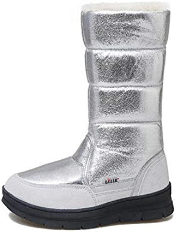 c1c2f53cc798 QZX QZX QZX scarpe Donna Inverno Neve Stivali Impermeabile Completamente  Foderato di Pelliccia,argento,