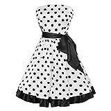 Damen Freizeitmode Gürtel Kleid Kleid ärmellose Punktdruck Knie Rock(Weiß,2XL)