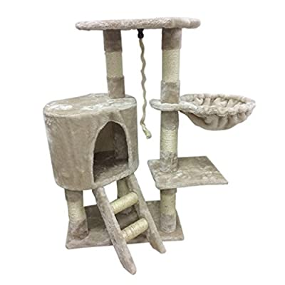 Magicpeony Cat Scratching Post Scratcher Tree Activity Toy Pet Playing Centre Climbing Bed (beige white)