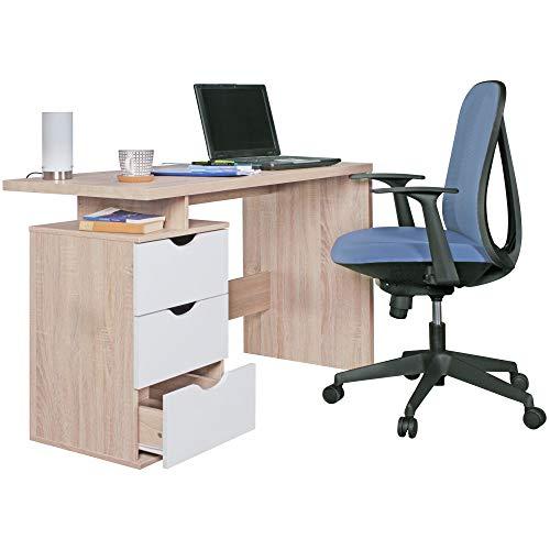 Wohnling Schreibtisch Design bürotisch Schublade Tisch computertisch mit Fächer ablage 120 cm Modern Bureau, Bois, Sonoma-weiß, 120 x 53 x 76 cm