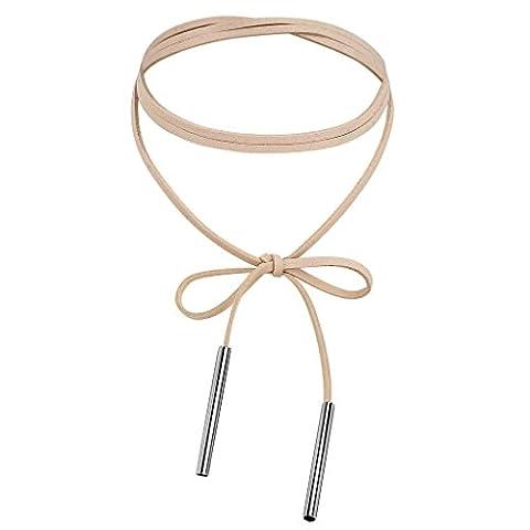 KnSam Ras du Cou Choker Velours Acier Inoxydable 2 Bars Nœud à Deux Boucles Round Stripe Collier Argent