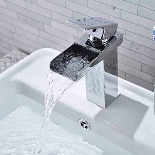 sserhahn, Chrom Wasserhahn Badezimmer Waschbecken Wasserfall, Square, Kein Rost Bassing ()