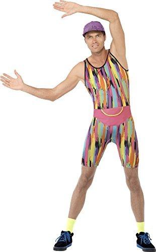 Fancy Me Herren Herr Motivator Herr Energizer 1990s 90s Jahre Aerobic Instructor Neon TV Persönlichkeit Promi Kostüm Kleid Outfit - Mehrfarbig, - Herr Motivator Kostüm