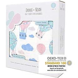 Mantita de arrullo de Emma+Noah con OEKO-TEX, suave y calmante para bebés que lloran, 120x120 cm, 100% algodón, ideal como mantita de arrullo para bebés, muselina, manta bebé (Globo)