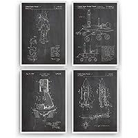 Espacio Exterior Poster de Patente - Pack de 4 Láminas - Patent Póster Con Diseños Patentes Decoracion de Hogar Inventos Carteles Prints Wall Art Posters Regalos Decor Blueprint - Marco No Incluido