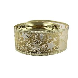OurWarm® Printing Ribbon Swirl Wired Sheer Glitter Ribbon 10Y Gold